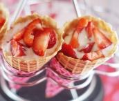 waffle fruit cone