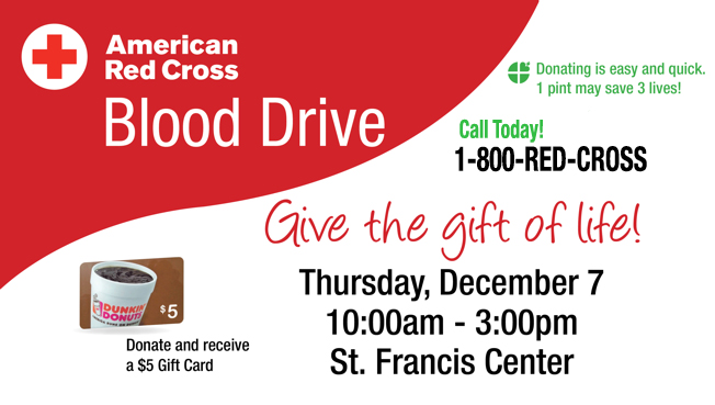 Give Blood This Thursday At St Joes